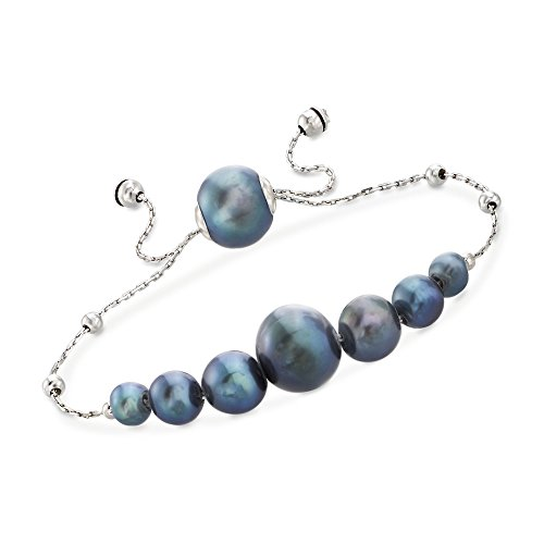 Ross-Simons 4-9.5mm Graduated Cultured Black Pearl and Sterling Silver Bolo Bracelet ()