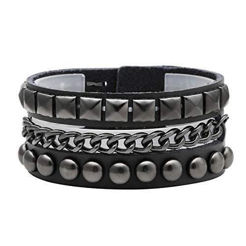 Zysta Men Women Triple Row Studded Chain Genuine Leather Punk Rock Gothic Biker 38mm Wide Cuff Bracelet Adjustable Bangle Wristband ()