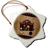 3dRose Heike Köhnen Design Steampunk - Awesome steampunk elephant clocks and gears - 3 inch Snowflake Porcelain Ornament (orn_289170_1)