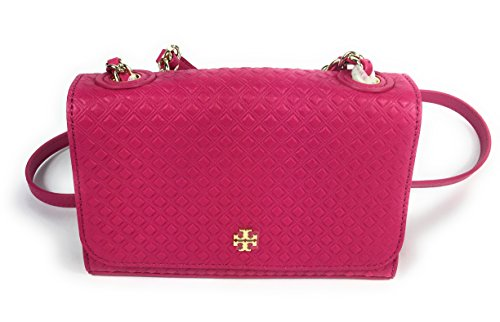 Tory Burch Marion Embossed Shrunken Crossbody in Carnation Red