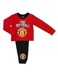 Childs Football Manchester United FC 'The Red Devils' Boys Pyjama Set, 100% Cott
