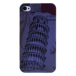 Bkjhkjy Embossed Leaning Tower Pattern Plastic Hard Case for iPhone 4 4S