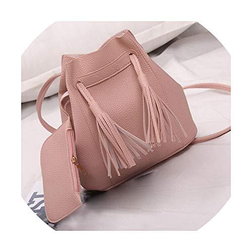 Women Bag Tassels PU Leather Handbag Crossbody Bucket Shoulder Bag With Small Clutch 28S7830,Pink,