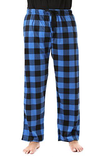 #FollowMe 45902-1C-M Polar Fleece Pajama Pants for Men/Sleepwear/PJs, Blue Buffalo Plaid, ()