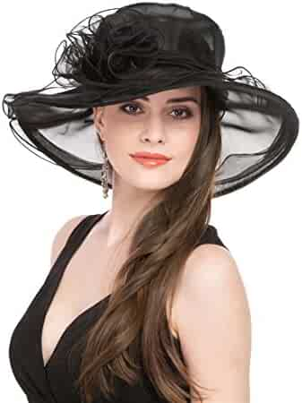 c825c6fa Lucky Leaf Women Kentucky Derby Church Cap Wide Brim Summer Sun Hat for  Party Wedding