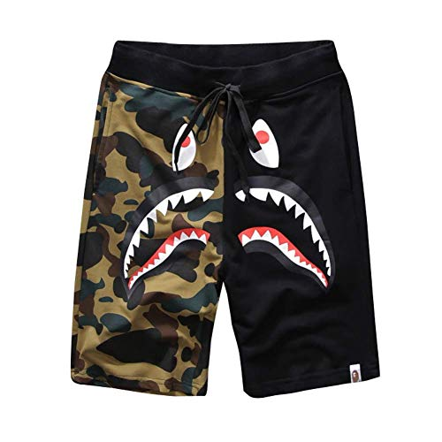 Athletic Pants Shark Pattern Camouflage Stitching Shorts Men Drawstring Sports Shorts]()
