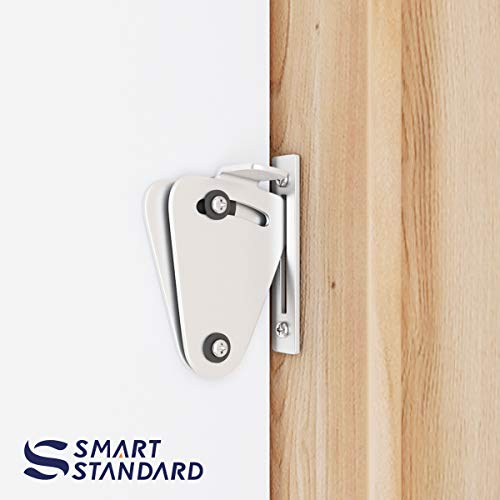SMARTSTANDARD Barn Door Small Size Latch Lock Stainless Steel Privacy Latch Lock for Sliding Door Work for Pocket Doors Garage and Shed Wood Glass Gates