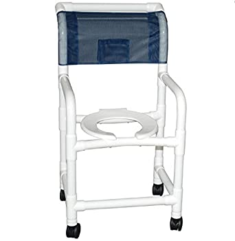 "MJM International 118-3TW-DDA Standard Shower Chair with Double Drop Arms, 300 oz Capacity, 40.5"" Height x 22"" Width x 25.25"" Depth, Royal Blue/Forest Green/Mauve"