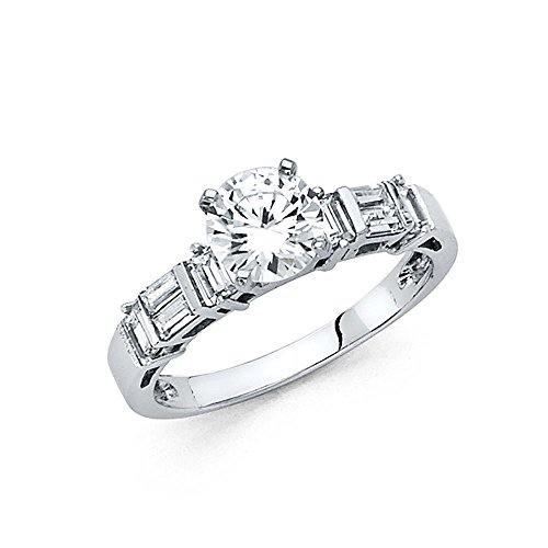 2mm 14K Engagement Ring White Gold with 1 ct Round Center and Baguette Side Stone Size 4 (Detailed Baguette)