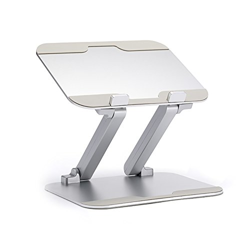 KLWJ Free rise and fall aluminum alloy notebook radiator support, Protect the cervical standing office desk raised rack computer stand-A