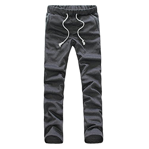 Your Gallery Mens Drawstring Elastic Waist Slim Fit Exercise Jogger Jersey Pants, dark gery M