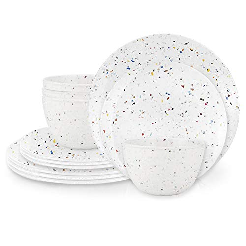 Zak Designs Confetti Melamine Dinnerware Set Includes Dinner Plates, Salad Plates, and Individual Bowls, Durable and Eco-Friendly (Eggshell White, 12-Piece Dinnerware Set Service for 4, BPA Free) (Dot Melamine Plates Polka)