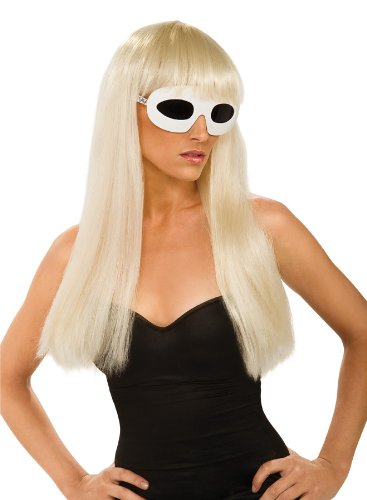 Lady Gaga Straight Hair Wig With Bangs,Blonde,One Size