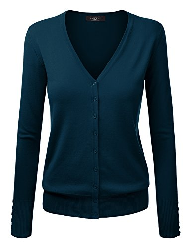 (MBJ WSK780 Womens Keep It Classic V Neck Cardigan XXXL Teal )