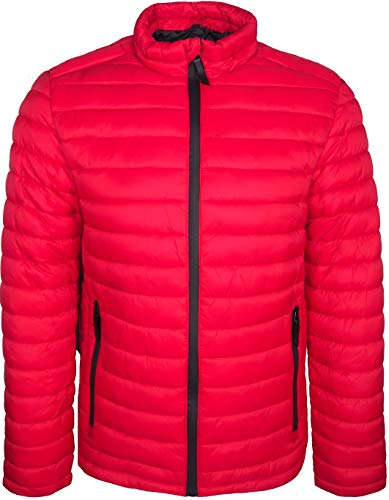 Plain Warm Coat Cold Men's Jacket Lightweight Weather Stripe Red in Ideal Padded wESqq4
