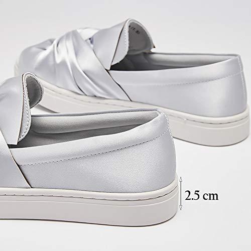 Para Planos Gray Oficina Mujer Yxx zapatos Primavera Caminar De Cordones Y Perezosos Transpirables Con Zapatos Mujer Hwxa5CqPw