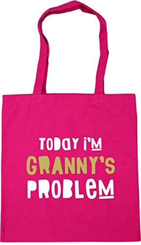 42cm Tote Problem Gym Shopping Bag Granny's Today Fuchsia x38cm 10 litres HippoWarehouse I'm Beach tIqYzAn