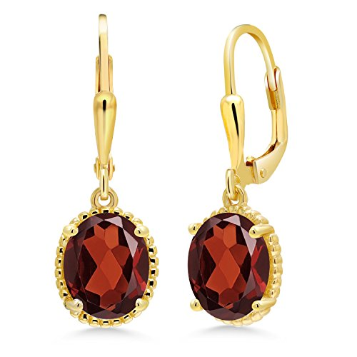 3.60 Ct Oval Red Garnet 18K Yellow Gold Plated Silver 27mm Length Dangle Earrings