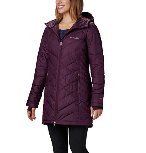(Columbia Women's Heavenly Long Hooded Jacket, Black Cherry, Large)