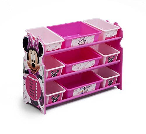 Delta Children 9 Bin Plastic Organizer, Disney Minnie Mouse (Storage Bench Anna Collection)