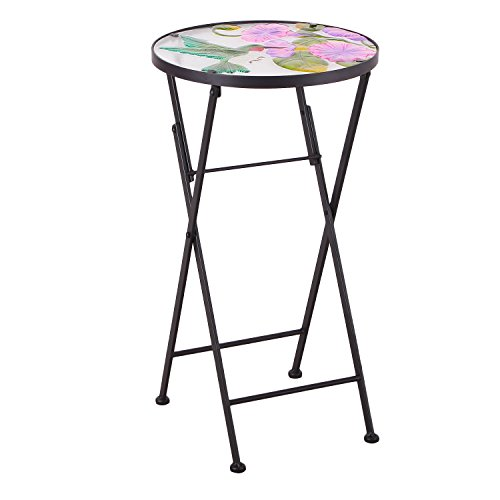 Joveco Hand Painted Style Multicolor Artscape Accent Glass Top Round Side Table Plant Stand, Foldable - Hummingbird - Round Top Plant Stand