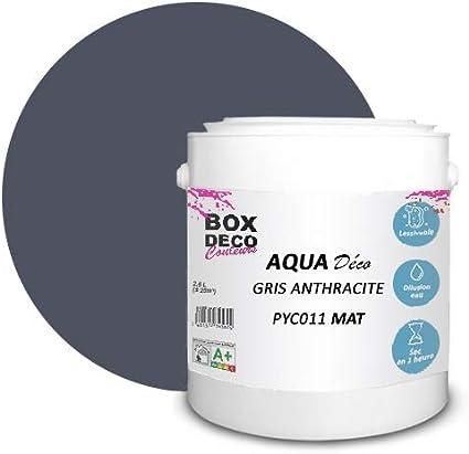 Peinture Acrylique Aspect Mat Aqua Deco Murale 44 Couleurs 2 5 L 25 M Gris Anthracite Amazon Fr Bricolage