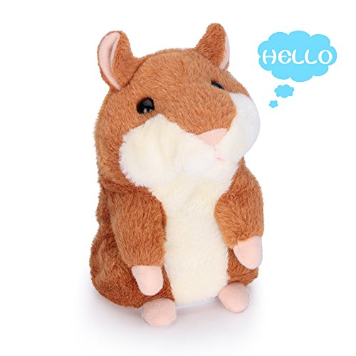 Woodyotime Talking Back Hamster Toy Repeats What You Say Plush Animal Electronic Pet Mimicry Toy for Boys and Girls Stuffed Animals Perfect Friend Christmas Gifts and Birthday