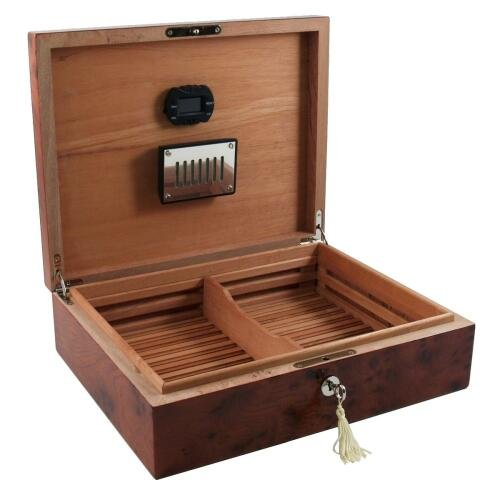 (Dolce Sogni Elm & Burl Inlay Cigar Humidor 75 Count)