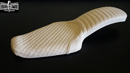 Sully's Customs 2 up Sportster seat White Diamond/ Arch 1982-2003