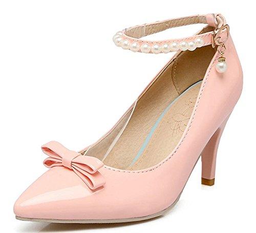 Aisun Damen Lack Spitz Zehen Schleife Perlen Knöchelriemchen Trichterabsatz Pumps mit Schnalle Pink