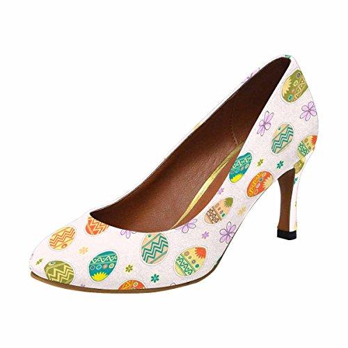 Classic Light Background Eggs InterestPrint Womens of Pump Easter High Fashion Heel Flowers Dress xq58r50Pw