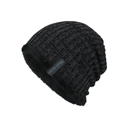 Hombre Gorro Suave Negro Sombreros Diseño Cálido Espesado YiJee Jacquard de Invierno Punto de BSxdnqwE