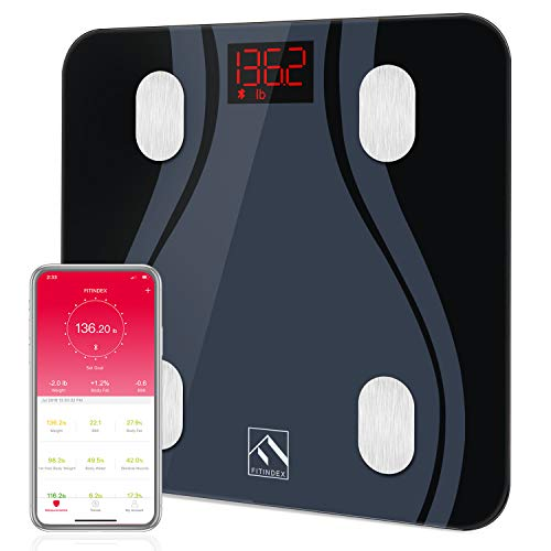 Bluetooth Body Fat Scale, FITINDEX BMI Smart Scale Bathroom Digital Weight Wireless Scale with Body Composition Monitor Analyzer Function, 13 Essential Metrics with Smartphone App - Black ()