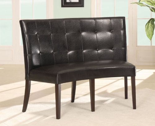Black Leatherette Metal (Modus Furniture 2Y0266D Bossa Dining Height Banquette, Black Leatherette)