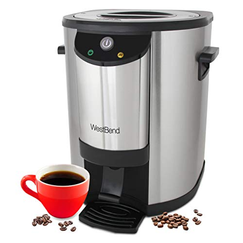 West Bend 57030 Stainless Steel Commercial Grade Coffee Urn Large Capacity Double Walled and Fast Brewing, 30 Cup, Silver