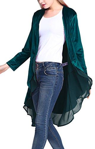 Blue Velvet Blazer - Urban CoCo Women's Long Sleeve Velvet Cardigan Coat with Asymmetric Chiffon Hem (XL, Iyons Blue)