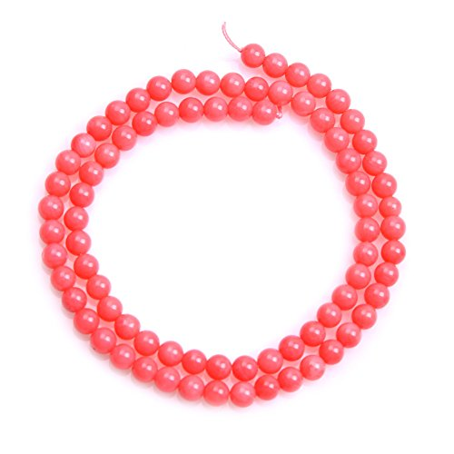 (Coral Beads for Jewelry Making Semi Precious Gemstone 5mm Round Pink Strand 15