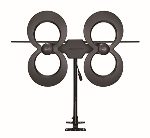 Antennas Direct ClearStream 4MAX TV Antenna, 70+ Mile Range, Multi-directional, Indoor, Attic, Outdoor, 20-inch Mast with Pivoting Base, All-Weather Mounting Hardware, 4K Ready, Black - C4MVJ