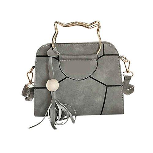 Cat belle poignée femmes PU cuir réglable bandoulière sac à bandoulière fille Lady Sac à main en bois Perle Tassel Arichtop Gris