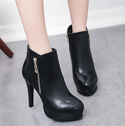 KHSKX-Black Winter New Round Head Girl Boots And Waterproof Zipper Decorated With Fine And High-Heeled Side Zipper And Versatile Female Boots 34 Vo7XX