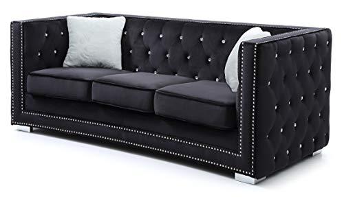 Glory Furniture Miami G803-S Sofa, Black. Living Room Furniture, 32