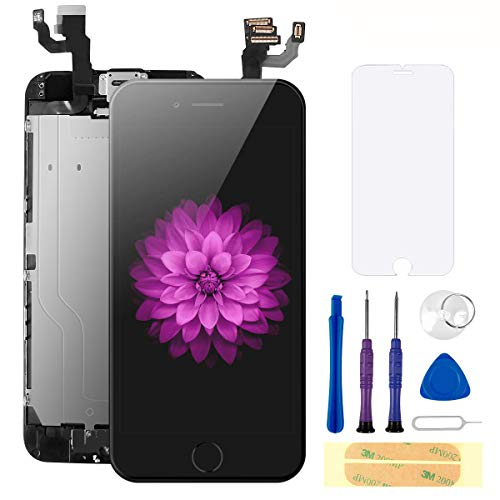 Compatible with iPhone 6S Screen Replacement Black 4.7 Inch Full Assembly LCD Display Digitizer with Front Camera, Ear Speaker, Proximity Sensor and Repair Tool Kit (A1700, A1688,A1633)