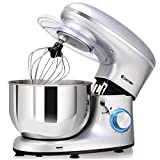 COSTWAY Stand Mixer, 660W Electric Kitchen Food Mixer with 6-Speed Control, 6.3-Quart Stainless Steel Bowl, Dough Hook, Beater, Whisk (Sliver) For Sale
