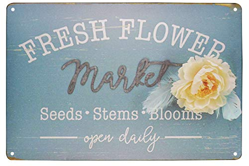 TISOSO Fresh Flower Market Seeds Stems Blooms Open Daily Retro Vintage Tin Bar Sign Country Farm Kitchen Wall Home Decor 8X12Inch (Signs Seed Vintage)