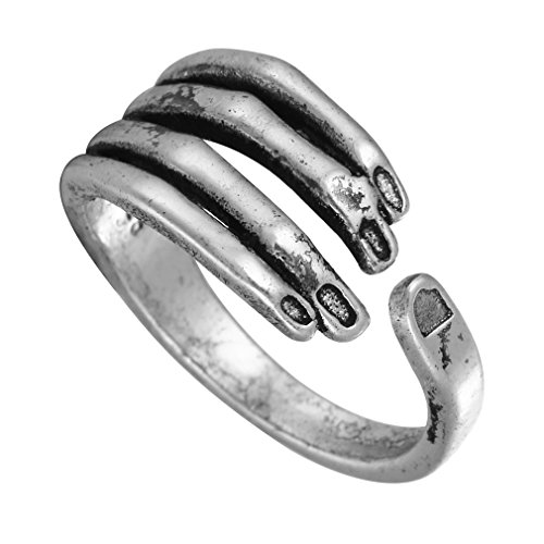 Chengxun Unisex Stainless Steel Rings Vintage Black Gothic Skeleton Skull Adjustable Silver Rings