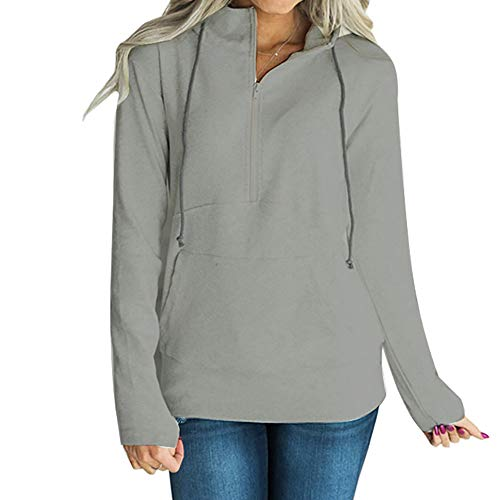 Womens Hoodies Top Pullover Winter Sweatshirt Solid Half Blouse Zipper Light Long Casual Autumn VJGOAL Jumper Gray Hooded Sleeve OqdUwBO