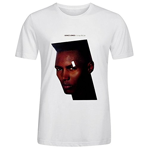 Grace Jones Living My Life Men Tees Crew Neck White