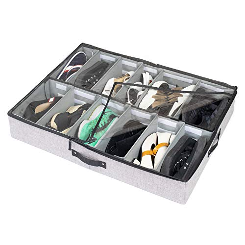 storageLAB Under Bed Shoe Storage Organizer, Adjustable Dividers - Fits Up to 12 Pairs - Underbed Storage Solution ()