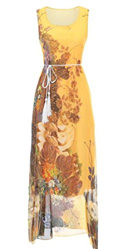 Waist Sleeveless Print Chiffon Womens High Yellow Cruiize Dress Maxi Belted S57qXw