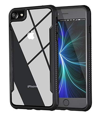 Tesson Ultra Hybrid iPhone 8 Case iPhone 7 Case, Clear Hybrid Case,Thin Tempered Glass Back Cover Soft TPU Bumper Frame,Shock-Absorption Bumper Cover, Anti-Scratch HD Clear Backr-Black